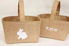 Easter Bunny Egg Hunt Hessian Burlap Basket, Personalised Name Option, Rustic, White Rabbit, UK, Storage Children's Room, Nursery, Spring