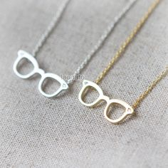 Geek Chic Glasses Necklace / Choose your color / gold by laonato, $13.00