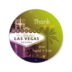 Stylish Las Vegas Wedding Thank You Favor Classic Round Sticker