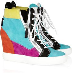 Celeste Colorblock Suede Sneaker Wedges - Lyst