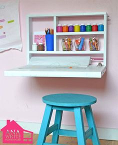 DIY Flip Down Wall Art Desk Project - Free Plans from Ana White.