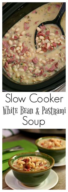 Slow Cooker White Bean and Pastrami Soup–an easy recipe for a creamy crockpot soup made with dried white beans, chopped vegetables, flavorful seasonings and salty pastrami (or you can use ham). recipes for slow cooker Crock Pot Soup, Crock Pot Slow Cooker, Slow Cooker Recipes, Crockpot Recipes, Soup Recipes, Cooking Recipes, Ham Soup, Pastrami Recipe Slow Cooker, Ham Recipes