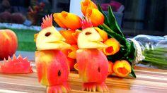 Art In Apple Penguins   Fruit Carving Garnish   Apple Art   Party Garnis...
