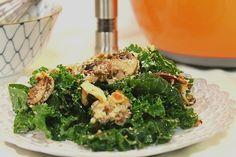 Kale Caesar Salad with Parmesan Mushroom Croutons