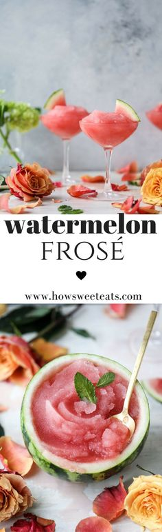 Watermelon Frosé- aka, FROZEN ROSE! your best summer cocktail. I howsweeteats.com #summercocktails