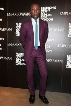 OZWALD BOATENG  In London wearing a suit, shirt, tie, and shoes of his own design.