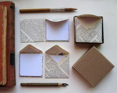 Notecard set. The envelopes are made out of vintage encyclopedia pages. *swoon*