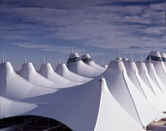 Denver International Airport in Colorado, US. Designed to mimic the snow-capped mountains in Colorado.
