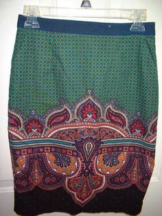 EDME & ESYLLTE Anthropologie Skirt 2 Small Wale Corduroy Pockets Paisley Lined