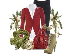 """Red & Green #3"" by stylesbyjoey ❤ liked on Polyvore"