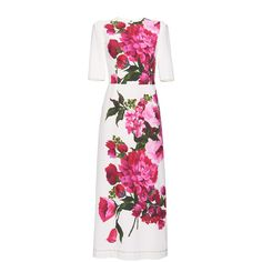 Dolce & Gabbana Placed Floral Print Dress (204.790 RUB) ❤ liked on Polyvore featuring dresses, dolce & gabbana, dolce&gabbana, short sleeve dress, slit dress, white floral print dress, floral print midi dress and white dress