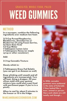 This cannabis gummy bear recipe is healthy, simple and de-licious! Using cannabis tincture, berries, honey and gelatin, you can whip up this paleo cannabis gummy recipe in 20 minutes! Weed Recipes, Marijuana Recipes, Recipies, Marijuana Facts, Ganja, Cannabis Edibles, Cannabis Oil, Paleo, Gastronomia