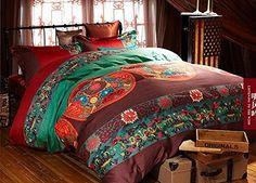 Cliab Boho Bedding Bohemian Bedding Exotic Bedding Queen Egyptian Cotton Duvet Cover Set