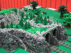 Lego Christmas Village, Lego Winter Village, Lego Village, Lego Train Tracks, Lego City Train, Lego Minecraft, Lego Mountain, Lego Track, Pokemon Lego