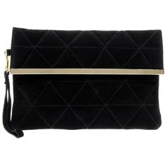 Asos Suede Quilted Foldover Clutch ($49) ❤ liked on Polyvore