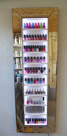 Nail Polish Storage Chic Wall Hanging Unit With Illuminated Mirror Glass And Leather Vinyl