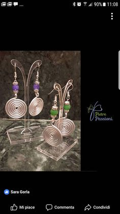 Spiral earrings with stone ..... you can choose the color of the spiral and the color of the stone