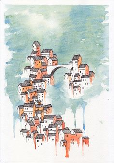 Original, Whimsical, Pen and Ink Watercolor Illustration. Italian Village in Orange and Green.