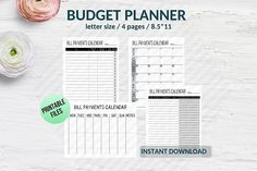 Bundle Bill tracker Bill organizer and planner printable Budget Planner, Weekly Planner, Printable Planner, Printables, Printer Ink Cartridges, Bill Organization, Letter Size, School Design, Online Printing