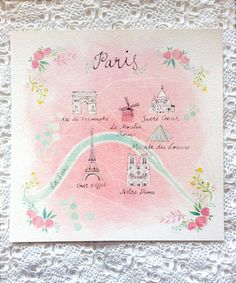 Illustrated map of Paris 29.5 x 29.5cm by mbaileyillustrations, $25.00