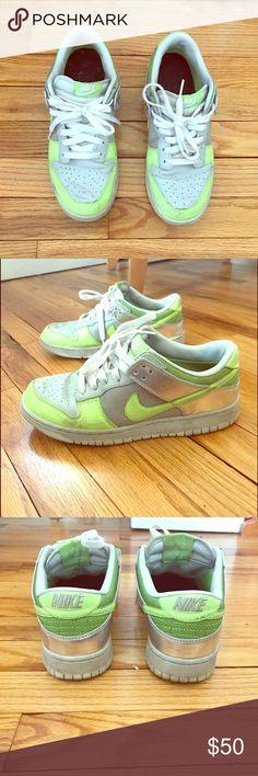 Nike Zoom Sneakers Light green, grey and metallic silver Nike sneakers. Gently used Nike Shoes Sneakers