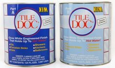 BATHROOM - TILE DOC®: XIM's Patented  Acrylic modified 2 part Epoxy, white Finish for Ceramic, Porcelain, Fiberglass and Acrylic surfaces. Made to hold up to HOT, Soapy Water. For refinishing tubs, sinks and shower areas.