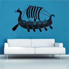 Viking Long Boat Wall Sticker Kult Kanvas Size: Extra Large, Colour: Brilliant Blue