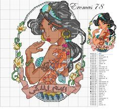 Disney Princess Pin-up Disney Cross Stitch Patterns, Cross Stitch For Kids, Modern Cross Stitch, Cross Stitch Charts, Cross Stitch Designs, Cross Stitching, Cross Stitch Embroidery, Embroidery Patterns, Disney Stitch