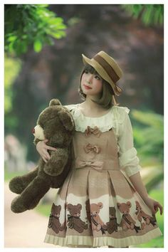 Diamond Honey ***Chocolate Bear Prints*** Lolita Salopette $ 60.99 - My Lolita Dress