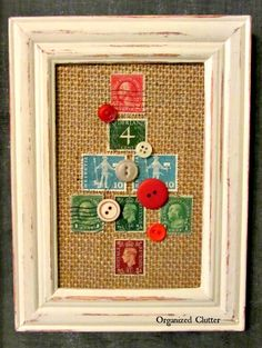 Crafting for Christmas - sweet stamps and buttons Christmas tree picture / www.organizedclutterqueen.blogspot.com