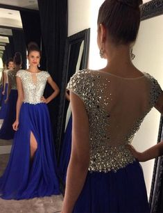 Glamorous Crew Neck Cap Sleeves Sweep Train Royal Blue Prom Dress with Beading
