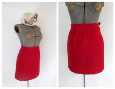 Red Wool Pencil Mini Skirt Vintage 1960s. These were tight and very short. My mom and me argued constantly about skirt length