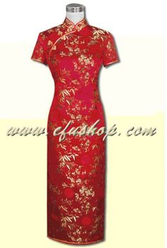 Red plum & bamboo silk cheongsam dress SCT154 - Custom-made Cheongsam,Chinese clothes, Qipao, Chinese Dresses, chinese clothing,EFU Tailor Shop