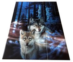 Our wolf tile murals and our tiles with foxes are perfect as part of your kitchen splash-back or your tub and shower surround bathroom tile project. Images of wolves on tiles and fox images on tiles add a unique element to your bathroom tiling project as well. Consider a tile mural of a woodland scene for any wall tile project.