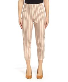 Tan & Red Stripe Capri Pants #zulily #zulilyfinds