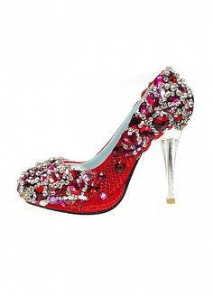 Custom-made Elegant Soft Leather Red Upper Stiletto Heel Closed Toe With Imorted Resin High Copy Crystal Rhinestone Wedding Shoes