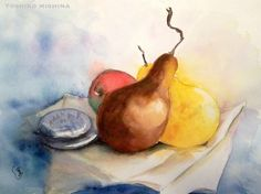 Yoshiko Mishina -Paintings: Watercolor Painting Group 12/11/12 --pears (2)