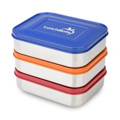 Stainless Steel Food Container Set by LunchBots in Primary Colors