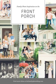One of the best places to do your family photos! Right on the front porch Spring Family Pictures, First Family Photos, Large Family Photos, Family Picture Outfits, Fall Family Portraits, Family Portrait Poses, Family Posing, Baby Portraits, Front Porch Pictures
