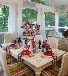This is one reason I love WHITE dishes...then just add a pop of whatever seasonal color...and it is beautiful. I'll try to post my table but this is my inspiration for the 4th.