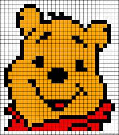 Winnie the Pooh perler bead pattern Winnie the Pooh Perlenmuster Melty Bead Patterns, Hama Beads Patterns, Beading Patterns, Bracelet Patterns, Hama Disney, Knitting Charts, Baby Knitting, Knitting Patterns, Start Knitting