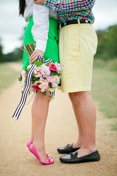 colorful + preppy engagement session | Love, The Nelsons #wedding