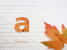 Lowercase letter a with glitter leaf and sweater knit. #fall #autumn #alphabet #typography #initial #monogram #font   maple leaf