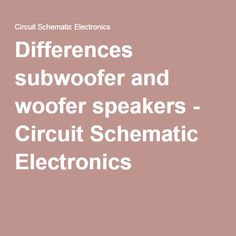 Differences subwoofer and woofer speakers - Circuit Schematic Electronics