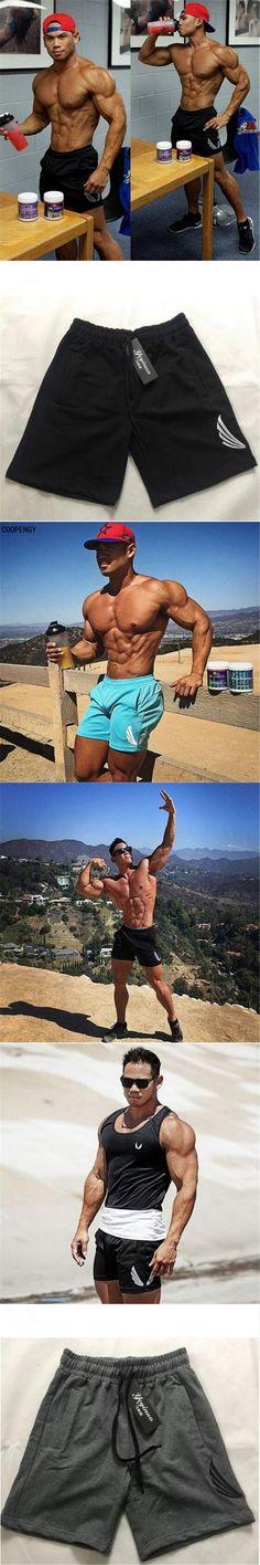 Brand New Fashion Brand Men  Shorts Fitness Summer Bodybuilding Short Pants Kneel Length Beach Pants Elastic Waist