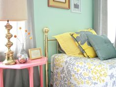 mint, pink, grey, yellow...i think the girls would love this...plus we already have half the colors on the wall :-)