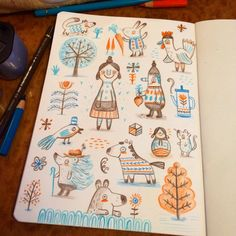 On the way back from Scotland I discovered that it's really pretty hard to draw on a train. #sketchbook #sketch #drawing #art #creative #doodle #folkart #soviet #illustration ©LinzieHunter