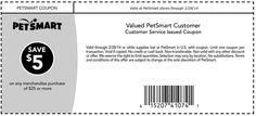 PetSmart: $5 off $25 Printable Coupon
