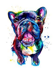 Si te gusta Frenchies como yo, te gustará esta pintura! Se trata de una impresión de mi acuarela original en colores brillantes y audaces y algunas salpicaduras. Me encanta pintar en colores brillantes para resaltar la personalidad de una mascota. Elige entre 5 x 7, 8 x 10, 11 x 14 o 13