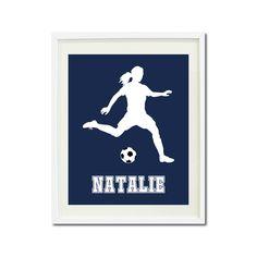 Custom art print with soccer player silhouette. Soccer team gift. Sports gift. Soccer wall art and bedroom decor for girls. Futbol. Football
